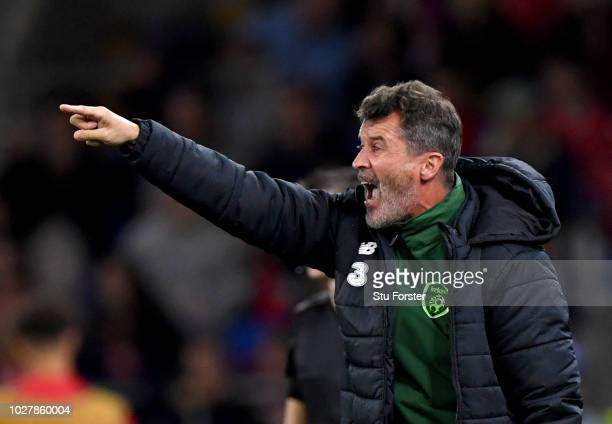 Republic of Ireland Assistant Manager Roy Keane gives his team instructions during the UEFA Nations League B group four match between Wales and...