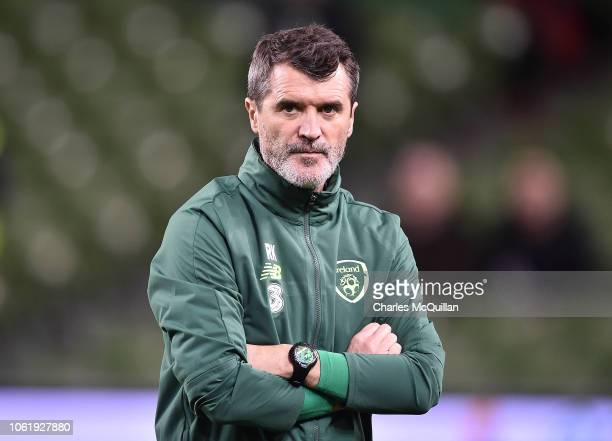 Republic of Ireland assistant manager Roy Keane looks on during the the International friendly football game between the Republic of Ireland and...