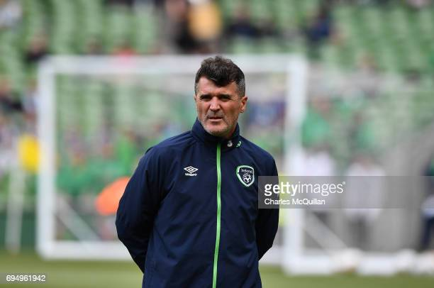 Republic of Ireland assistant manager Roy Keane watches on during the FIFA 2018 World Cup Qualifier between Republic of Ireland and Austria at Aviva...
