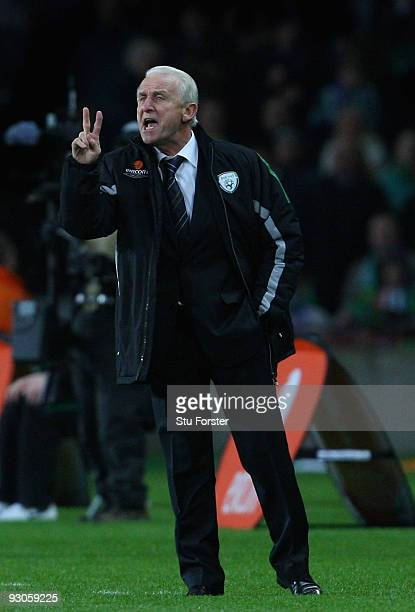 Republic of Ireland coach Giovanni Trapattoni makes a point during the FIFA 2010 World Cup Qualifier play off first leg between Republic of Ireland...