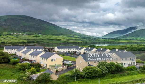 republic of ireland, county kerry, iveragh peninsula, ring of kerry, houses in the outskirts of the city of cahersiveen - northern ireland stock pictures, royalty-free photos & images