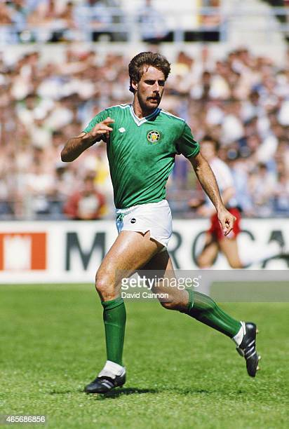 Republic of Ireland defender Mick McCarthy in action during a World Cup Qualifier against Switzerland on June 2 1985 in Dublin Ireland