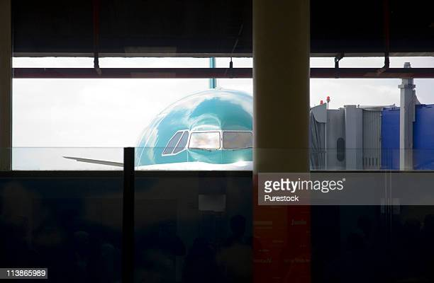Republic of Ireland, Dublin, Dublin Airport, Aer Lingus passenger jet at the gate of an airport