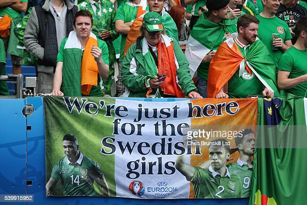 Republic of Ireland fans look on during the UEFA Euro 2016 Group E match between Republic of Ireland and Sweden at Stade de France on June 13 2016 in...