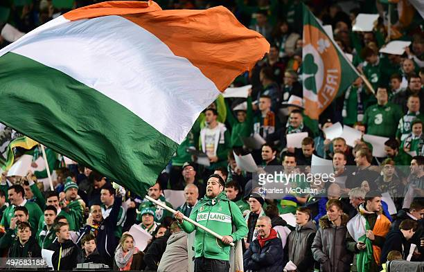 Republic of Ireland fans pictured during the Euro 2016 playoff second leg match between the Republic of Ireland and BosniaHerzegovina at Aviva...