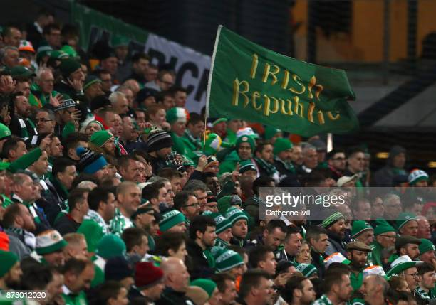 Republic of Ireland fans with a flag during the FIFA 2018 World Cup Qualifier PlayOff First Leg between Denmark and Republic of Ireland at Telia...