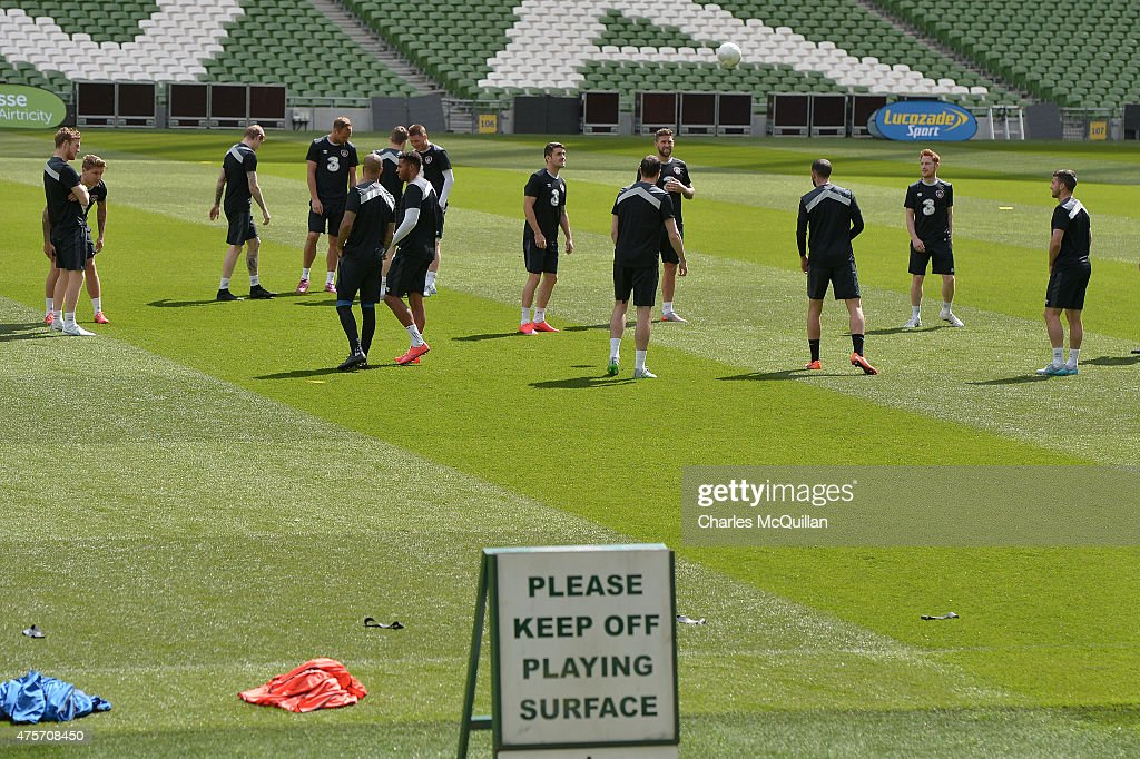 Republic of Ireland football squad during a training session at Aviva Stadium on June 3, 2015 in Dublin, Ireland. The Republic of Ireland play England in a friendly game this coming Sunday, the first meeting between the two sides in Dublin since the abandonment of a game in 1995 due to hooliganism.