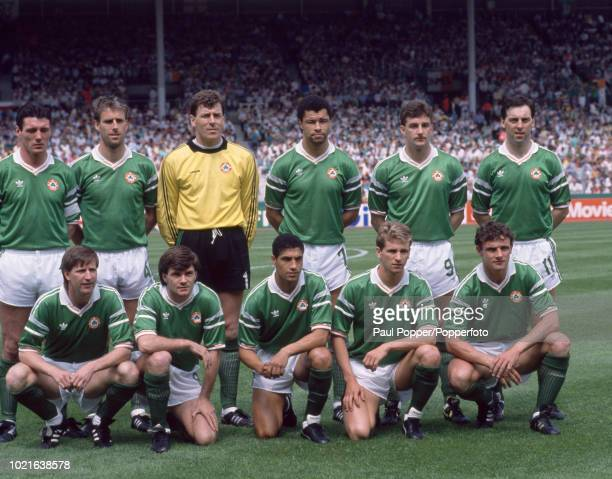 Republic of Ireland line up for a group photo before the UEFA Euro 88 Group 2 match between England and the Republic of Ireland at the Neckarstadion...