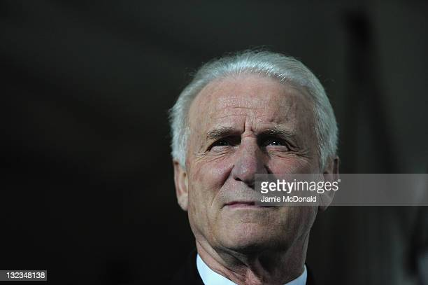 Republic of Ireland manager Giovanni Trapattoni looks on during the Estonia and Republic of Ireland, EURO 2012 qualifier, play off first leg at the A...