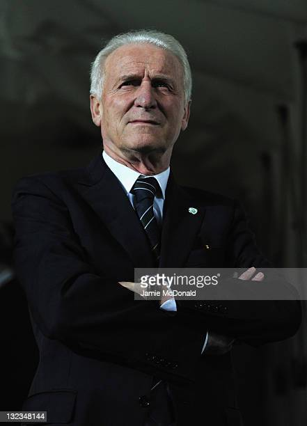 Republic of Ireland manager Giovanni Trapattoni looks on during the Estonia and Republic of Ireland EURO 2012 qualifier play off first leg at the A...