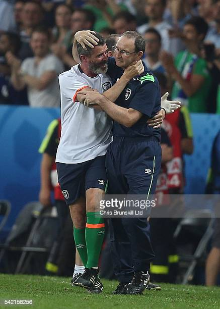 Republic of Ireland manager Martin O'Neill celebrates at full-time with assistant coach Roy Keane following the UEFA Euro 2016 Group E match between...