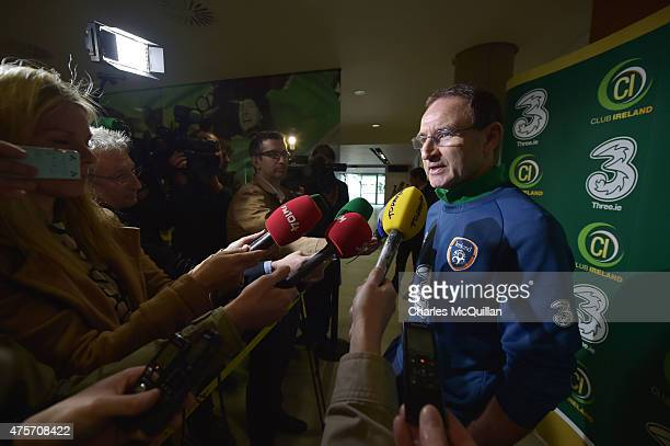 Republic of Ireland manager Martin O'Neill speaks to reporters after an open training session at Aviva Stadium on June 3 2015 in Dublin Ireland The...