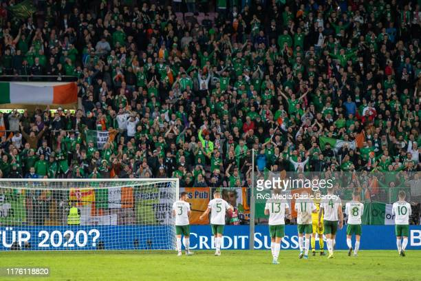 Republic of Ireland players salute to fans after the UEFA Euro 2020 qualifier between Switzerland and Republic of Ireland on October 15 2019 in...