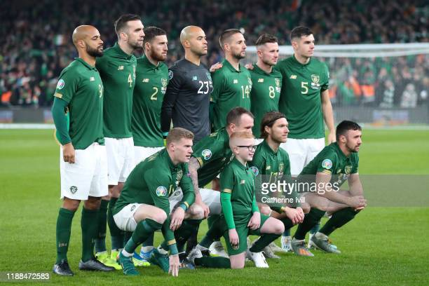 Republic of Ireland pose for a team photo ahead of the UEFA Euro 2020 qualifier between Republic of Ireland and Denmark at Dublin Arena on November...