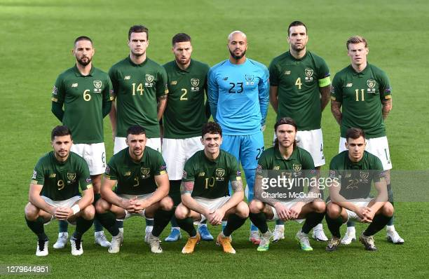 Republic of Ireland pose for a team photo ahead of the UEFA Nations League group stage match between Republic of Ireland and Wales at Aviva Stadium...