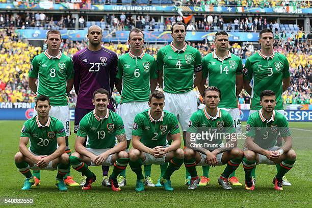 Republic of Ireland pose for a team photograph ahead of the UEFA Euro 2016 Group E match between Republic of Ireland and Sweden at Stade de France on...
