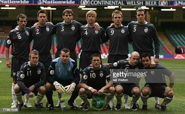 Republic of Ireland team pose for a team photo during the Euro2008 Qualifier match between Wales and Republic of Ireland at the Millennium Stadium on...