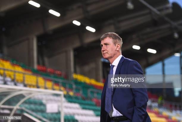Republic of Ireland U21 head coach Stephen Kenny walks the pitch prior to the UEFA U21 Championships Qualifier match between the Republic of Ireland...