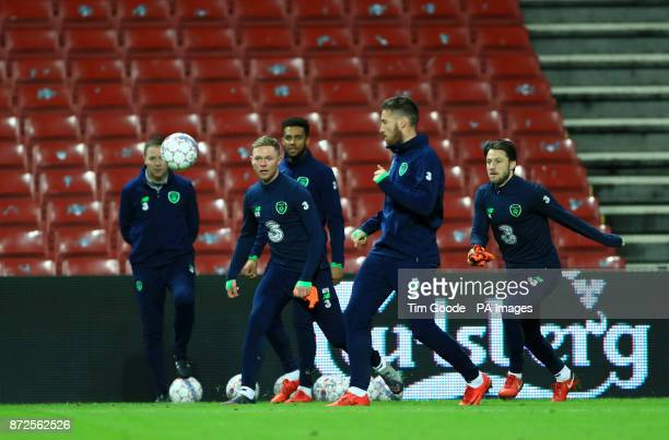 Republic of Ireland's Aiden O'Brien and Harry Arter during the training session at the Parken Stadium Copenhagen