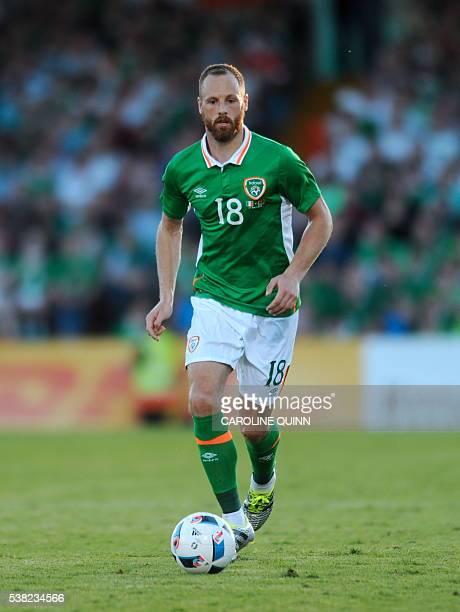 Republic of Ireland's David Meyler runs with the ball during the international friendly football match between Republic of Ireland and Belarus at...