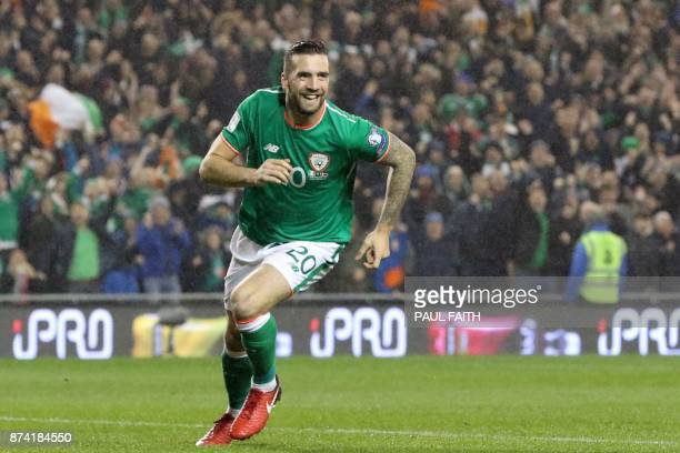 Republic of Ireland's defender Shane Duffy celebrates after scoring the opening goal of the FIFA World Cup 2018 qualifying football match second leg...