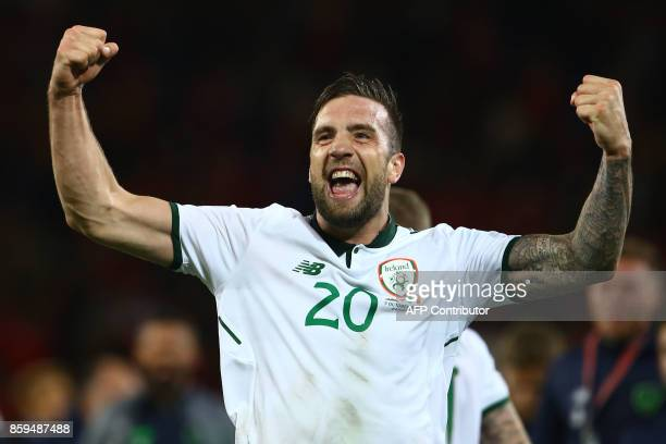 Republic of Ireland's defender Shane Duffy celebrates victory afterthe group D World Cup qualifying football match between Wales and Republic of...