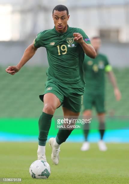 Republic of Ireland's forward Adam Idah runs with the ball during the UEFA Nations League football match between the Republic of Ireland and Finland...
