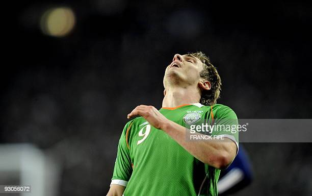 Republic of Ireland's forward Kevin Doyle reacts after missing a shot during the first leg of the World Cup 2010 playoff football match Republic of...