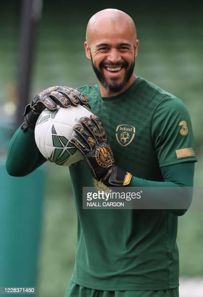Republic of Ireland's goalkeeper Darren Randolph warms up ahead of the UEFA Nations League football match between the Republic of Ireland and Finland...
