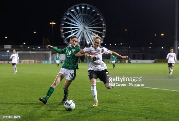 Republic of Ireland's Heather Payne and Germany's Sydney Lohmann battle for the ball during the UEFA Women's Euro 2021 Qualifying Group I match at...
