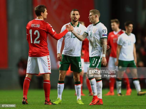 Republic of Ireland's James McClean and Denmark's Andreas Bjelland during the FIFA World Cup qualifying playoff first leg match at the Parken Stadium...