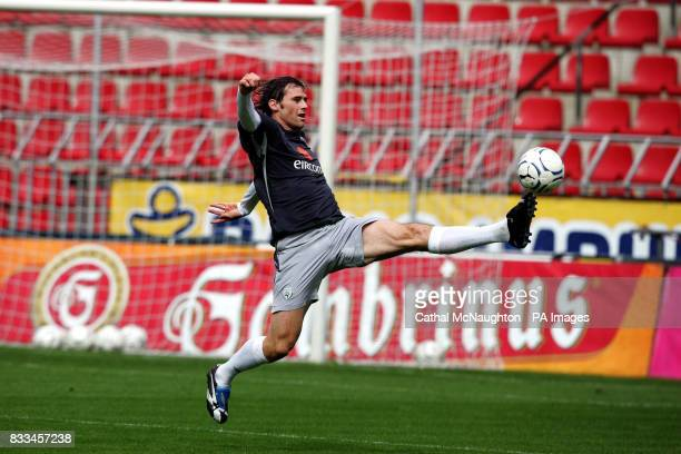 Republic of Ireland's Kevin Kilbane during a training session at the Sparta Prague Stadium Prague Czech Republic
