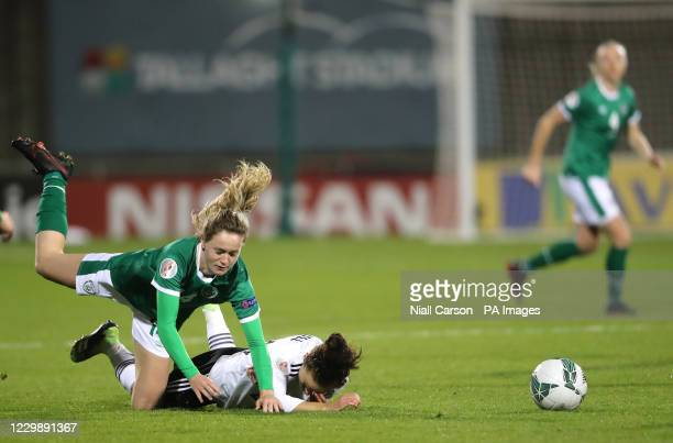 Republic of Ireland's Louise Quinn collides with Germany's Lina Magull during the UEFA Women's Euro 2021 Qualifying Group I match at the Tallaght...