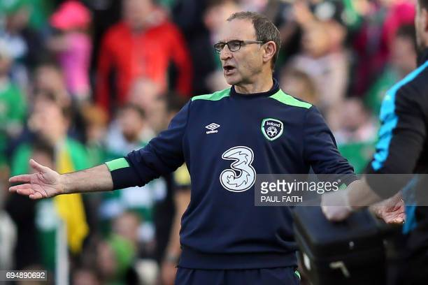 Republic of Ireland's manager Martin O'Neil gestures on the touchline during the group D World Cup qualifying football match between Republic of...