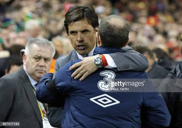 Republic of Ireland's manager Martin O'Neil greets Wales' manager Chris Coleman ahead of the World Cup 2018 qualification football match between...