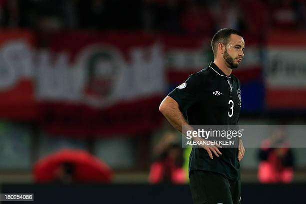 Republic of Ireland's Marc Wilson reacts after the FIFA World Cup 2014 qualifying football match Austria vs Ireland in Vienna on September 10 2013...