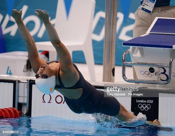 Republic of Ireland's Melanie Nocher starts the Women's 200m Backstroke Heat 2 at the Aquatics Centre London