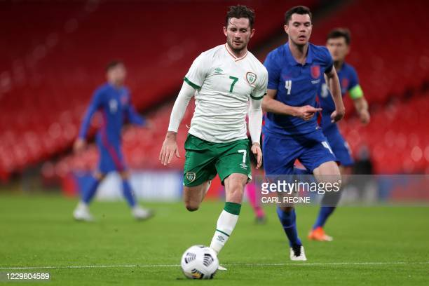 Republic of Ireland's midfielder Alan Browne runs with the ball during the international friendly football match between England and Republic of...
