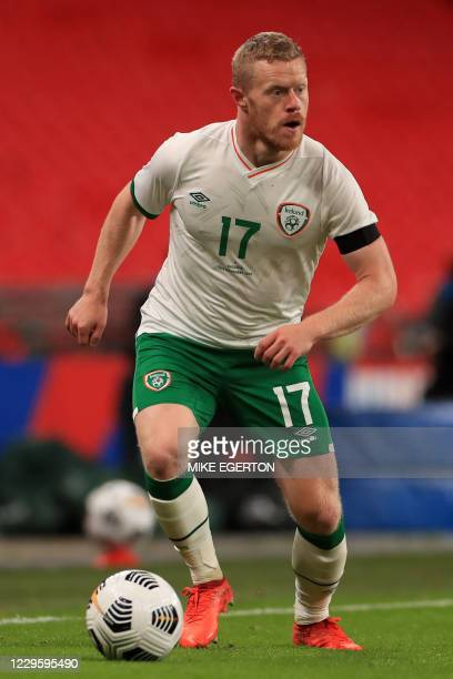 Republic of Ireland's midfielder Daryl Horgan runs with the ball during the international friendly football match between England and Republic of...