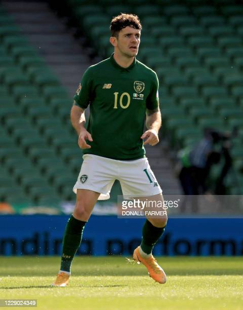 Republic of Ireland's midfielder Robbie Brady reacts during the UEFA Nations League Group B4 football match between the Republic of Ireland and Wales...