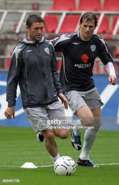 Republic of Ireland's Robbie Keane and Kevin Kilbane during a training session at the Sparta Prague Stadium Prague Czech Republic