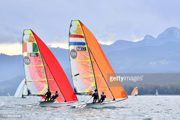 Republic of Ireland's Sean Donnelly and Markus O'Leary and The Netherlands' Daniel Bramervaer and Manus Offerman compete on their 49er class boats...