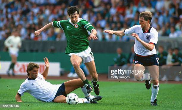 Republic of Ireland's Tony Galvin skips past the challenge of England's Glenn Hoddle and Gary Stevens during the European Championships match between...