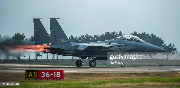 A Republic of Korea air force F15K Slam Eagle from the 11th Fighter Wing Daegu prepares for takeoff as part of Buddy Wing 157 at Kunsan Air Base...