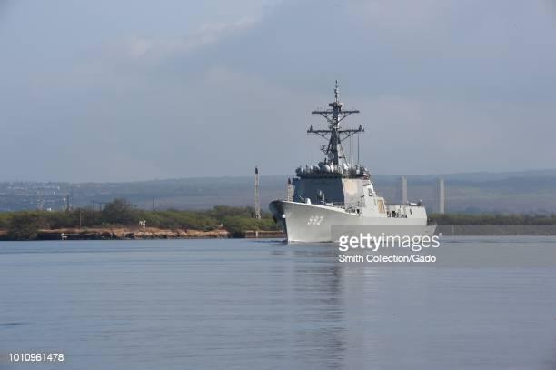 Republic of Korea Navy destroyer Yulgok Yi I departing Pearl Harbor Hawaii July 10 2018 Image courtesy Petty Officer 1st Class Jimmie Crockett /...