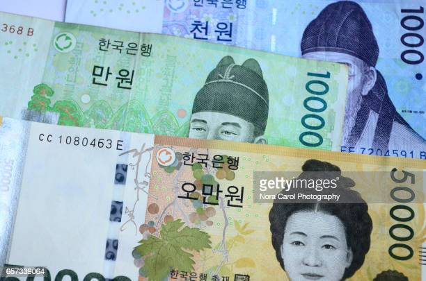 republic of korea won bank notes - korean currency stock photos and pictures
