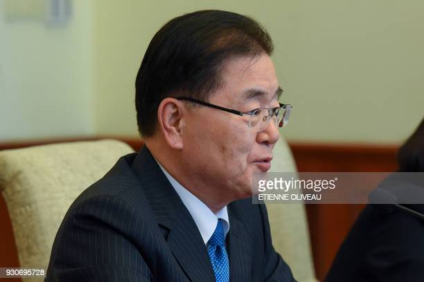Republic of Korea's National Security Advisor Chung Eui-Yong and South Korean ambassador to China Noh Young-min meets with Chinese State Councilor...