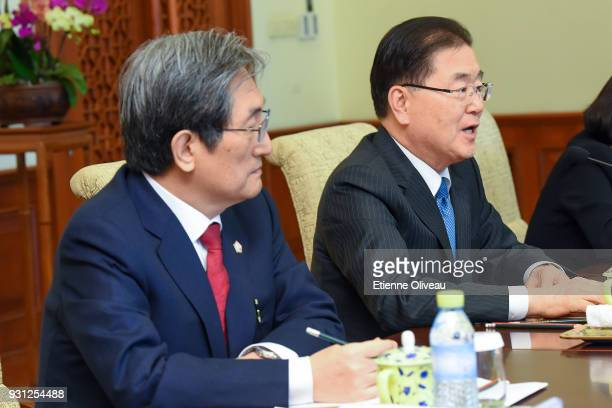 Republic of Korea's National Security Advisor Chung EuiYong and South Korean ambassador to China Noh Youngmin meets with Chinaese State Councilor...