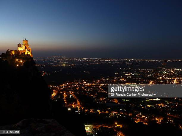 Republic of San Marino at dusk with sunset colors