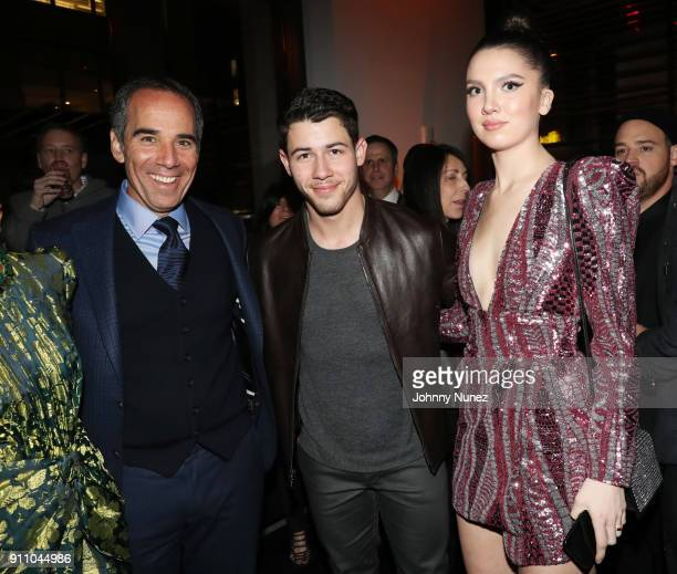 Republic Records Chairman/ CEO/ CoFounder Monte Lipman Nick Jonas and Maya Henry attend the Republic Records PreGrammy Party at Cadillac House on...